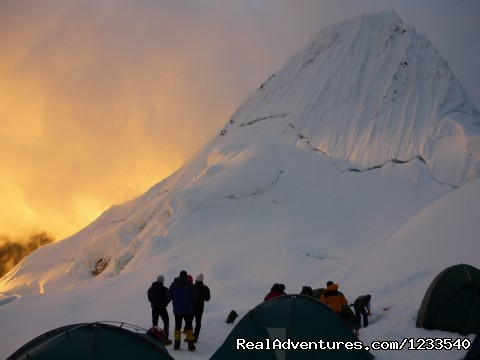 Alpamayo Climb at 5,947 Cordillera Blanca Peru Alpamayo climbing at 5.947m.