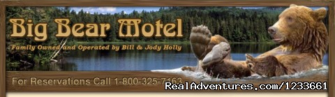 Our web site pic and our 40 foot sign out front - Big Bear Motel