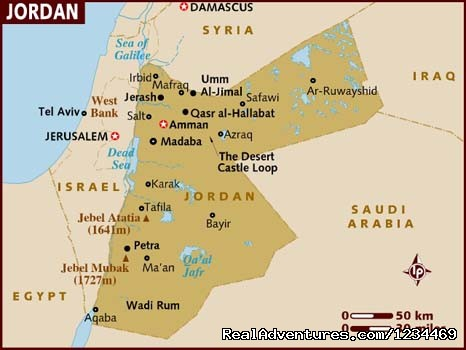Map Of Jordan - Touring Jordan Private driver guide