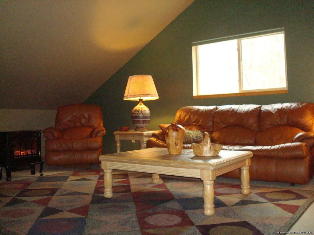 Cozy Loft is furnished with a leather pull-out couch | Image #8/26 | Pikes Peak Retreat In Pikes National Forest