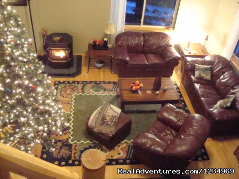 Living Room: view from the loft. - Pikes Peak Retreat In Pikes National Forest