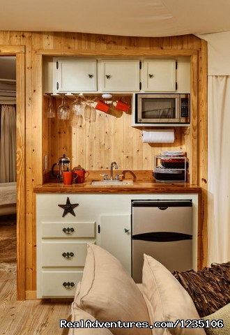 The kitchenette. - Fall in love all over again...Glamping at Sinya