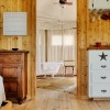 Fall in love all over again...Glamping at Sinya Long Leaf Pine flooring and cowhide rugs.