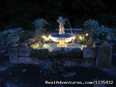 The Barn Inn Bed and Breakfast, Fountain at night | Image #17/20 | Romantic Barn Inn Bed and Breakfast