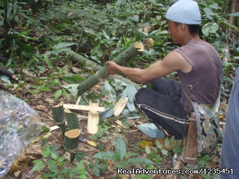 Making the plates , cups and chopsticks in the jungle - THE Rainforest Retreat Experience in Thailand