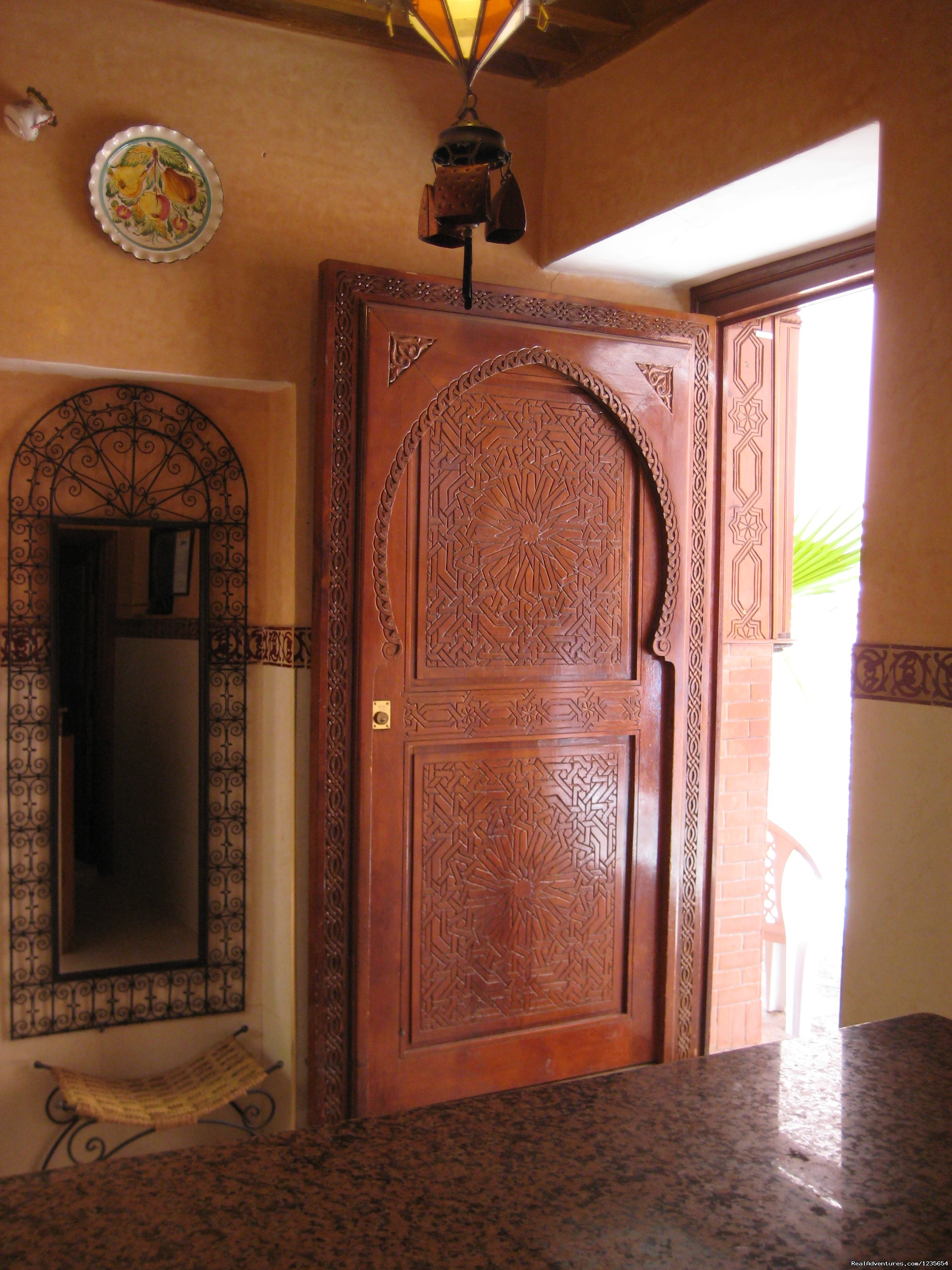 The entry with its beautiful door