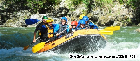 Family Rafting descend in Noguera Pallaresa River - White Water Rafting in Pyrenees