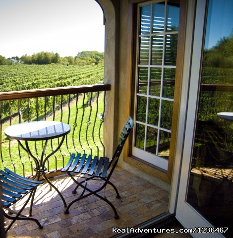 Private Tuscan Suite on  a North Fork Vineyard: Private Balcony overlooking the vineyard