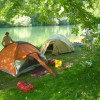 Camping on river bank