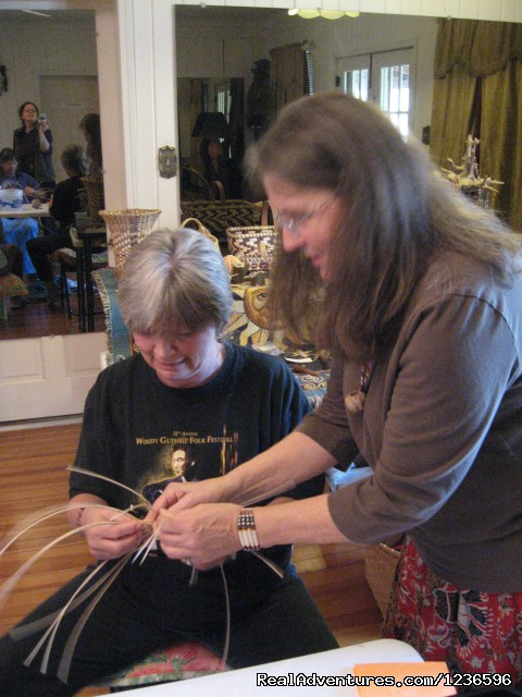 Grandmother Arla basketmaking - Renew & Relax at Fire Om Earth Retreat Center