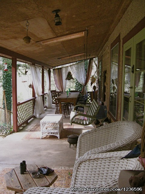 Back porch dining area - Renew & Relax at Fire Om Earth Retreat Center