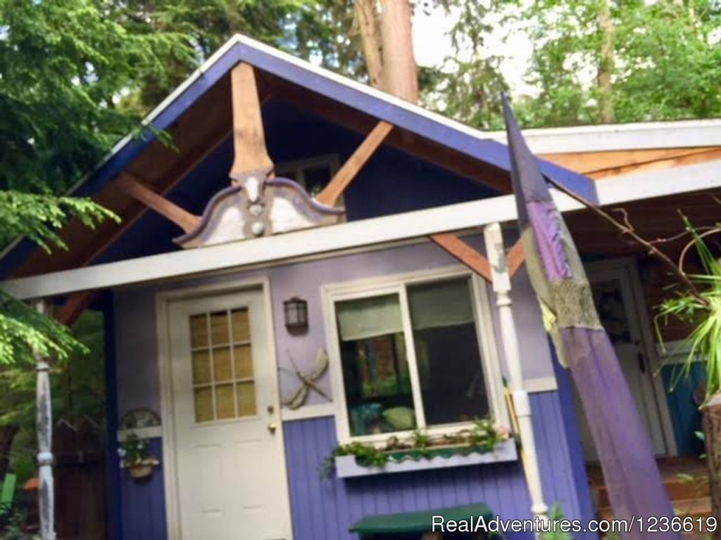 Sweet & small! The main cottage is 200sq foot..and there is an adjacent private bath house, all tucked away in a magical,  private wooded setting! 