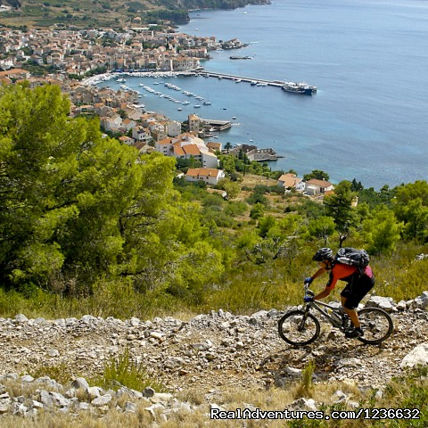 Mountain biking holidays on island of Vis, Croatia: Downhill singletrack section on Island of Vis