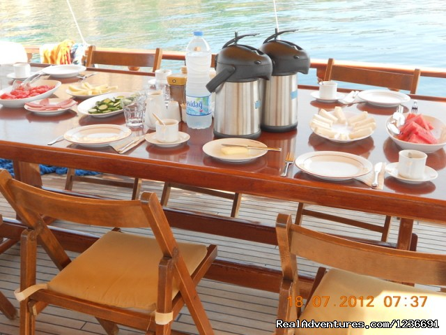 Breakfast on gulet boat - Blue Cruise in Turkey