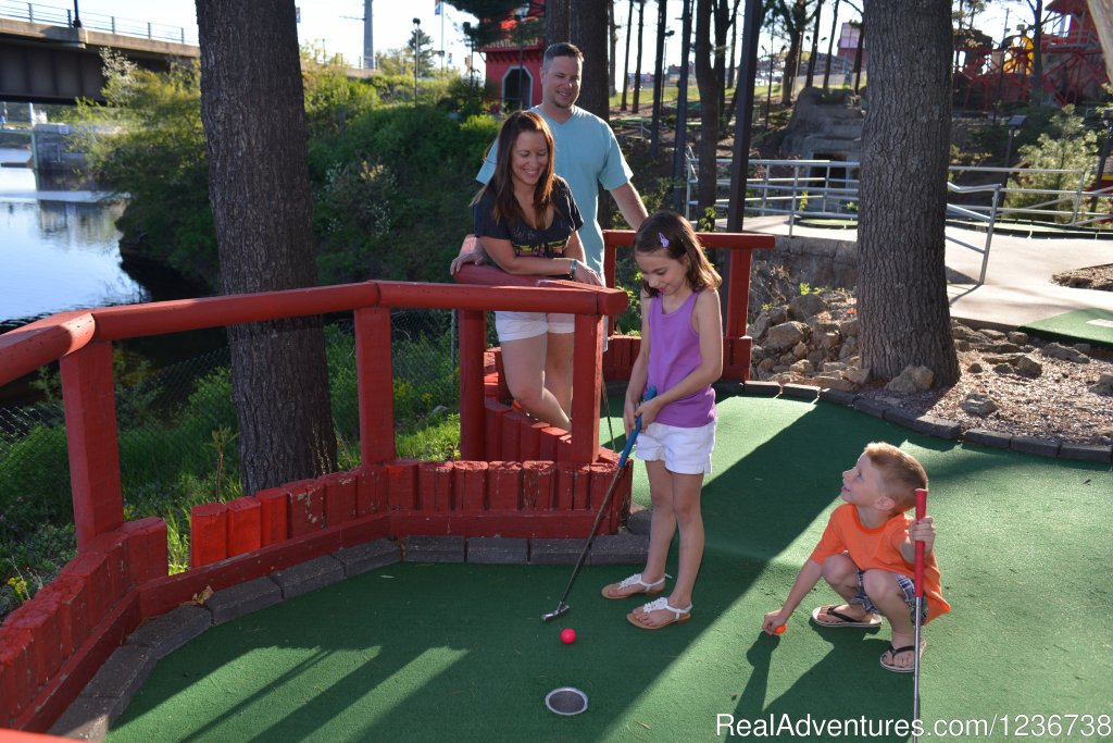 At Timber Falls, we measure fun in screams per second! With 72 scenic holes of mini golf, bumper boats, log flume ride, Roller Coaster, and Skyscraper, you're sure to have fun! Only mini golf course on the Wisconsin River. Group rates available!