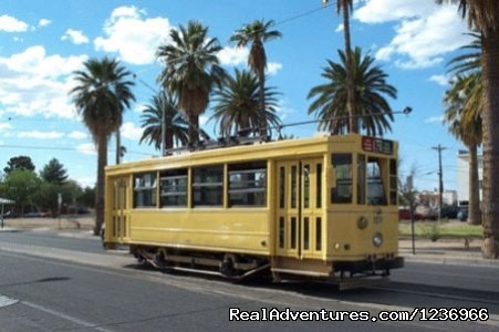 Take the trolly wherever you need to go - The Big Blue House Boutique Inn