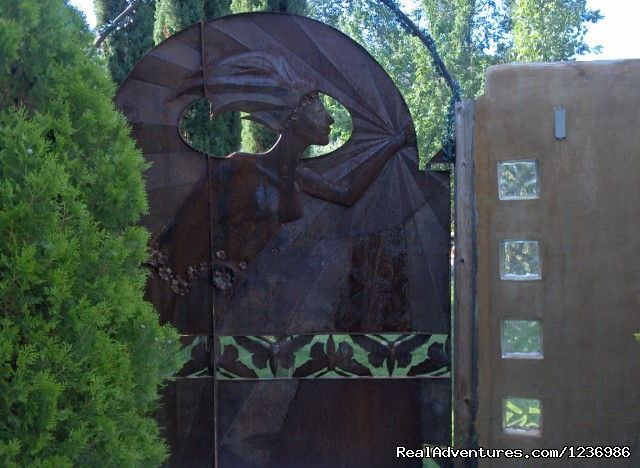 Sculptured iron gate by Ben Dale - The Gardens at Mile High Ranch