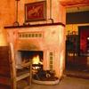 Crackling fire inside the Hacienda