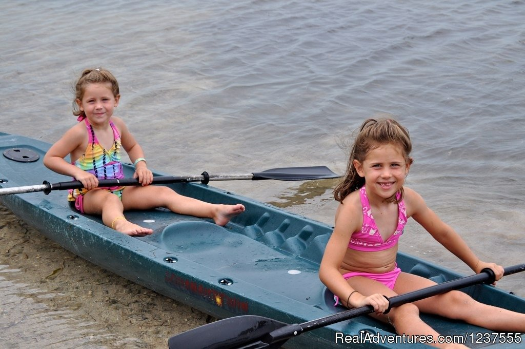 These girls are ready for kayaking. | Image #19/24 | Seabird Key, Private Island,  Sandy beach & boat