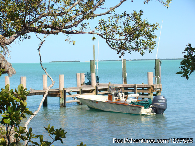 Dock with 19' Boston Whaler - Seabird Key, Private Island,  Sandy beach & boat