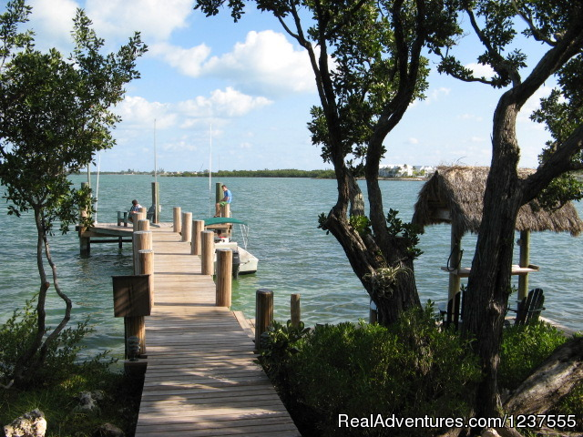 Seabird's main dock has 4'-7' water depth depending on tide - Seabird Key, Private Island,  Sandy beach & boat
