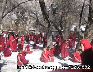 Debates among monks on Sera Monastery - Small Group Expedition for 7 Days Mt. Everest Tour