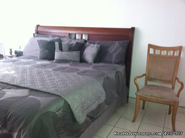 Master bedroom, King size bed, Private bath - Beautiful Apt in Isla Verde-Free bus to beach
