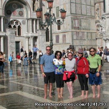 Bikers in Venice floods - Primavera del Prosecco - Bike the Wine Roads
