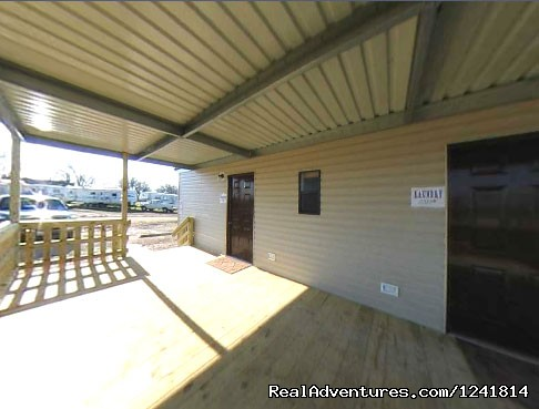 Porch area Laundy and Restrooms - Texan RV Ranch
