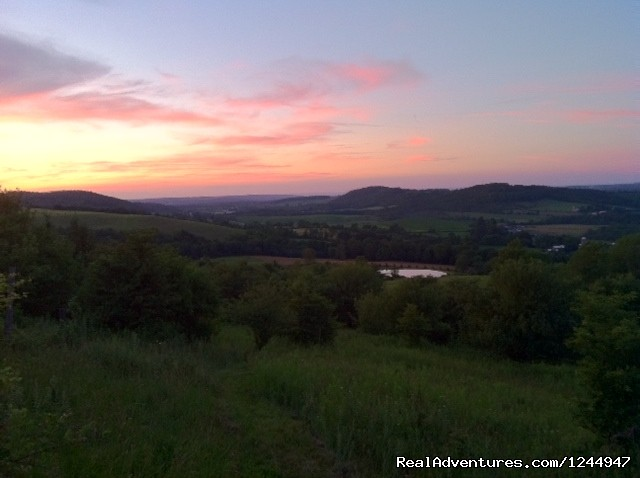 Sunset from Loomis Lair - Yurt for Rent- Private Nature Retreat