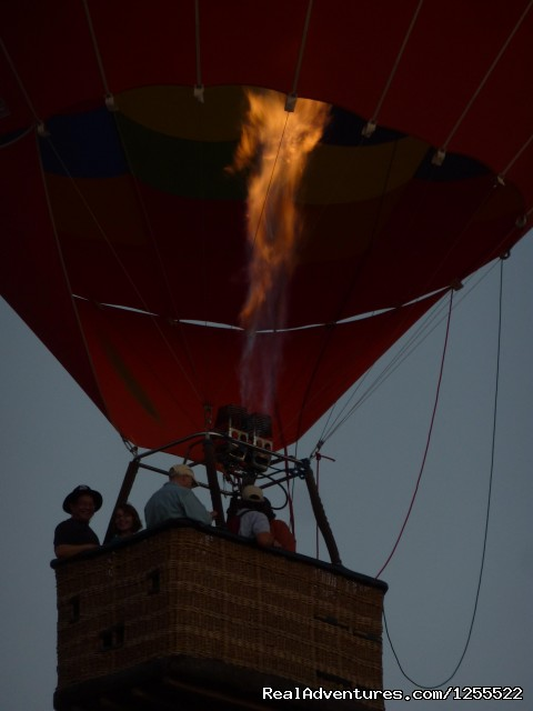 Taking off - with burners - Tucson Balloon Rides