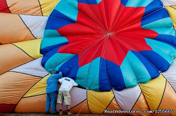 Velcroing the valve in. - Liberty Flights  Hot Air Balloon Flights in S. NH
