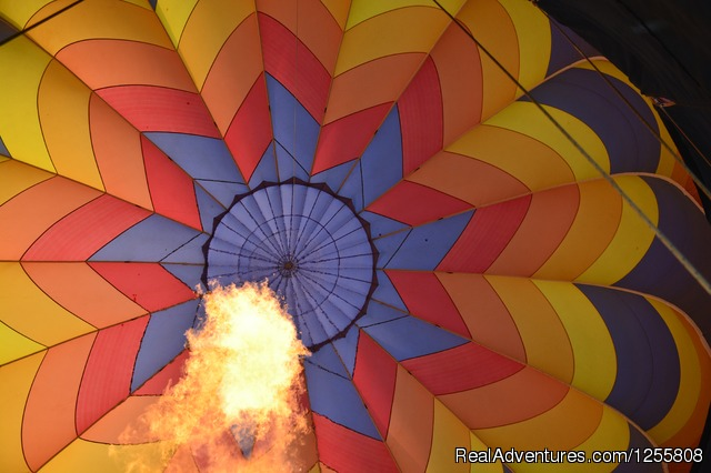 The fire inside 'Dream Chaser' - Yadkin Valley Balloon Adventures NC wine country