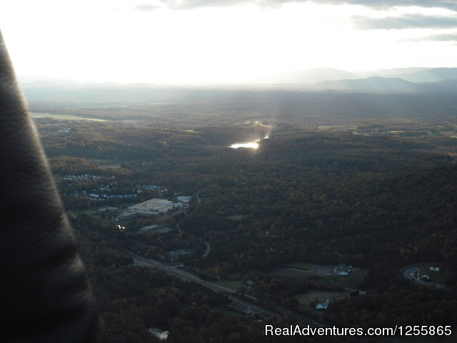 Light reflecting off of the lake - Monticello Country Ballooning