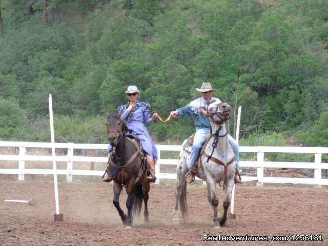 The ribbon game...one of  many games played in Corral Capers - Colorado Trails Ranch, Colorado's Friendliest