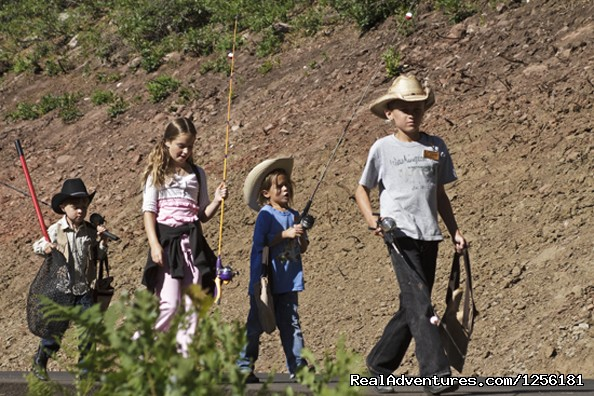 Kid's on the way to the pond to catch some fish - Colorado Trails Ranch, Colorado's Friendliest