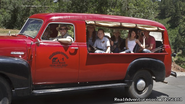 Heading out to fish in one of our antique vehicles (#13 of 15) - Colorado Trails Ranch, Colorado's Friendliest