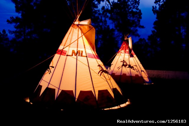 Majestic Dude Ranch Teepee at night