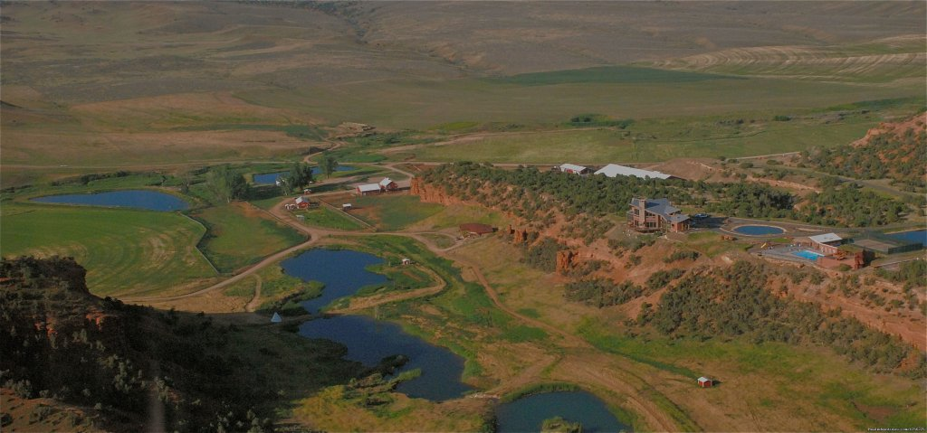Aerial Shot of the Water Features and the Lodge | Image #7/24 | Incredible experience at Red Reflet Guest Ranch