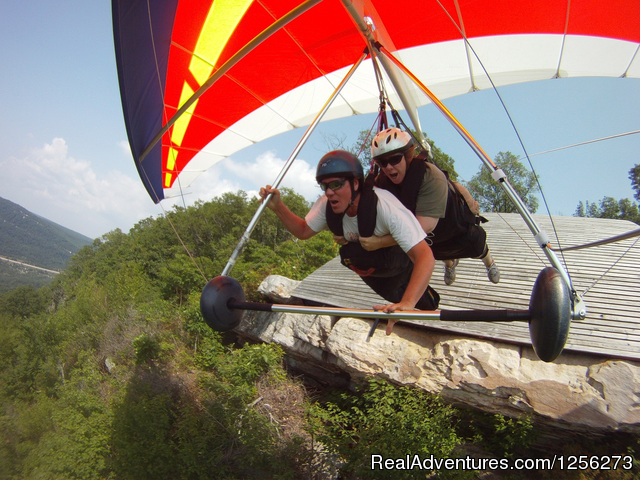 Claire and I launching - Mountain Launch Hang GlidingThrill-A-Minute Sports