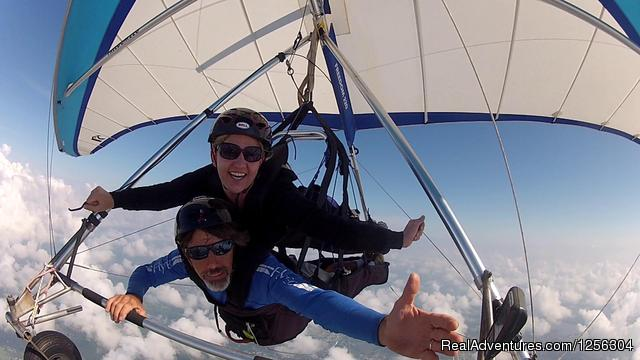 Hamming it up for the camera - Quest Air Hang Gliding