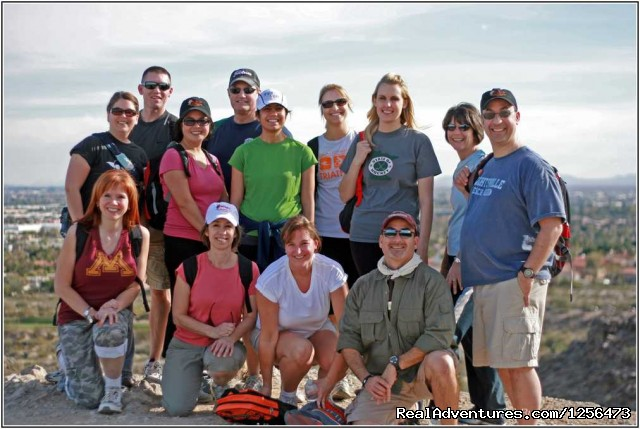 Guided Hiking in the Phoenix & Tucson desert AZ: HIkers' faces tell how they feel: excited & happy