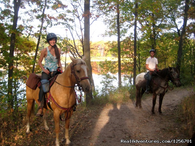 Afternoon of riding trail on horseback