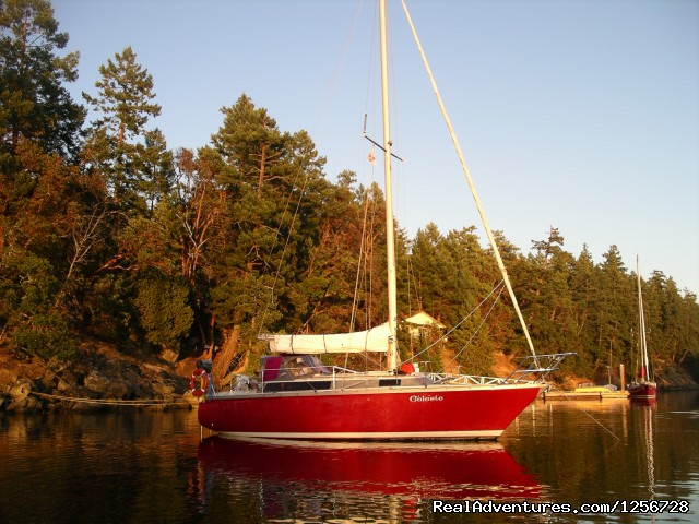 Celeste anchored during a cruise & learn class - Sailing Classes in Vancouver