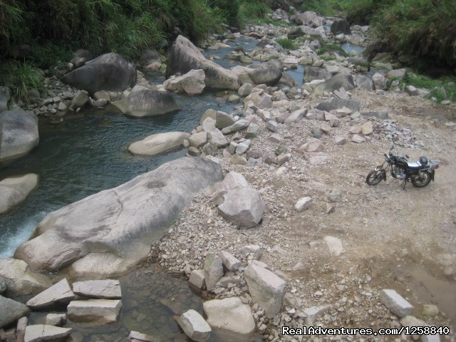 a short stop for a swim to cool down - 13 Day china moto tour