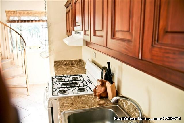 Light airy kitchen with full sized GE fridge + stove - Beachside Vacation Getaways at Vecinos