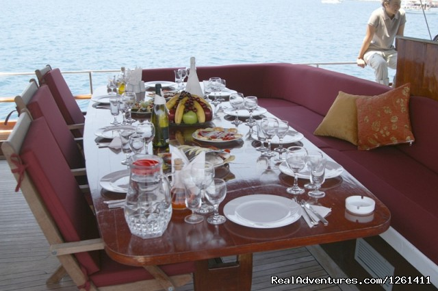 table on the stern deck - Selimiye Tour Yacht Charter In Turkey