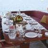 table on the stern deck
