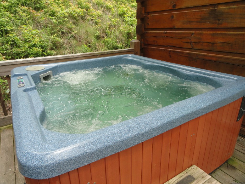 Relax after a long day in the hot tub | Image #9/20 | Luxury Cabin on Beautiful Mt Stream $199/nightly