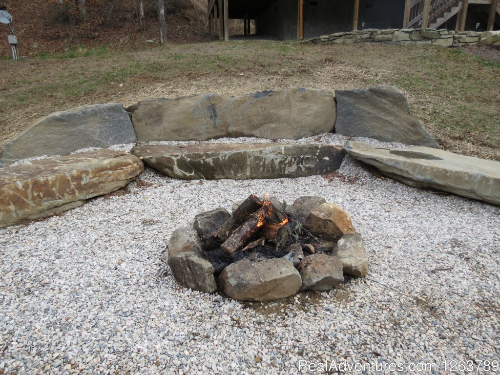 Large Boulder Fire Pit Overlooking Creek | Image #20/20 | Luxury Cabin on Beautiful Mt Stream $199/nightly